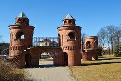 红色儿童的城堡在Pinsk 免版税库存图片