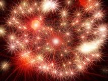 红色光亮的烟花星 抽象节假日背景 免版税库存图片