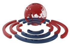 红色全世界互联网连接 免版税库存图片