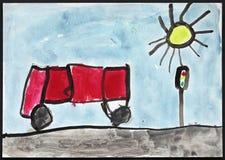 红色公共汽车和红绿灯-儿童的图画 免版税库存照片
