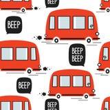 红色公共汽车,无缝的样式 库存例证