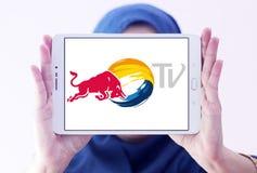 红色公牛电视商标 免版税库存照片