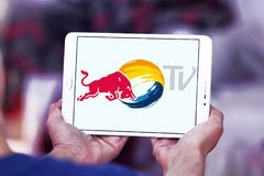 红色公牛电视商标 免版税库存图片