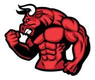 红色公牛的巨大的肌肉 皇族释放例证