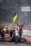 红色公牛赛跑的队的司机丹尼尔・里奇亚多 库存照片