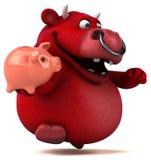 红色公牛- 3D例证 免版税库存图片