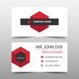 红色六角形公司业务卡片,名片模板,水平的简单的干净的布局设计模板,企业横幅模板 库存例证