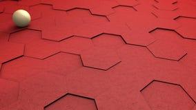 红色六角形的抽象未来派3D例证与白色球,在背景的球形的 抽象几何背景,3D 皇族释放例证