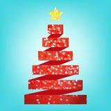 红色典雅,圣诞树传染媒介 库存图片