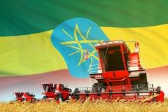 红色农村农业联合收割机的工业3D例证在领域的有埃塞俄比亚旗子背景,食品工业 库存例证