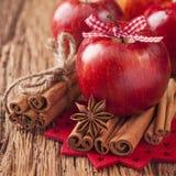 红色冬天苹果 免版税库存图片