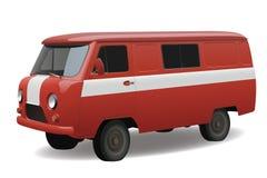 红色减速火箭的有篷货车 免版税库存图片