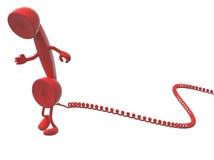 红色减速火箭的电话机动画片和缆绳 免版税库存图片