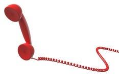 红色减速火箭的电话机和缆绳 免版税库存照片