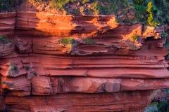 红色分层了堆积苏格兰` s东南海岸峭壁  库存照片