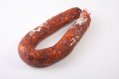 红色利比亚加调料的口利左香肠 免版税库存照片