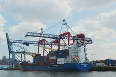 红色勾子集装箱码头在布鲁克林 免版税库存照片