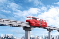 红色单轨铁路车火车 免版税库存照片