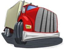 红色卡车的例证有拖车的 免版税库存图片