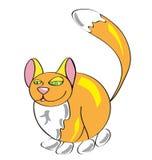 红色厚实的蓬松猫,在一个简单的样式的滑稽的动物 孩子, 免版税库存图片