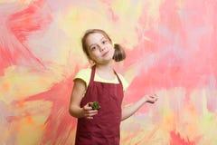 红色厨师围裙的小厨师在五颜六色的抽象墙壁上 免版税库存照片