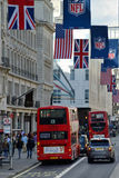 红色双层公共汽车,伦敦 库存照片