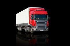 红色反射的卡车 免版税库存图片