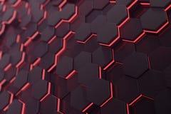 红色发光的六角形未来派背景 3d翻译 向量例证