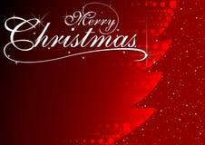红色发光的抽象圣诞树 库存图片