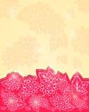 红色发光的花卉贺卡 库存图片