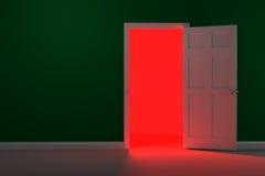 红色发光的走廊 库存图片