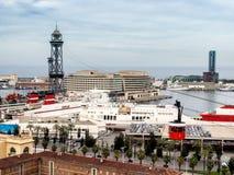 红色口岸缆绳, Transbordador Aeri del Port在巴塞罗那 免版税库存图片