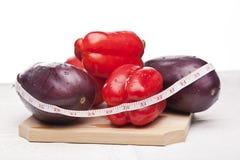 红色可口茄子的胡椒 图库摄影