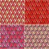 红色叶子无缝的抽象模式 免版税库存图片