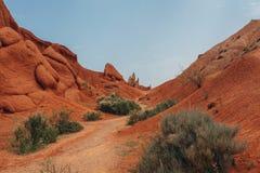 红色含沙峡谷 库存照片