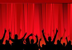 红色听众的窗帘 库存例证