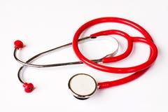 红色听诊器 免版税库存图片