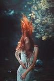 红色吹的头发 免版税库存图片