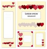 红色和伯根地心脏在低脂奶油颜色backround -集合横幅模板海报设计媒介的,装饰 皇族释放例证