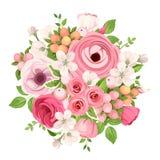 红色和桃红色花花束  也corel凹道例证向量 库存照片