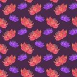 红色和桃红色莲花 与宇宙的无缝的样式 向量例证