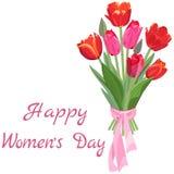 红色和桃红色郁金香欢乐花束对3月8日的 库存例证