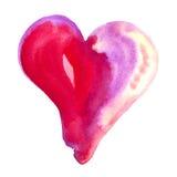 红色和桃红色水彩心脏 免版税库存照片