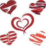 红色和橙色心脏 免版税库存照片