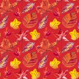 红色和橙色秋叶背景 水彩无缝的样式例证 库存图片