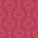 红色和淡粉红的几何装饰品 无缝的模式 免版税库存照片