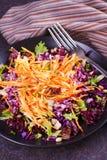 红色和白椰菜、红萝卜、莴苣、春天葱、坚果和种子沙拉 库存图片