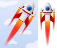 红色和白色动画片钢火箭飞行 库存图片
