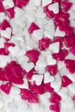 红色和白色华伦泰心脏 库存照片