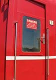 红色和白色危险,没有门户开放主义的标志 库存照片